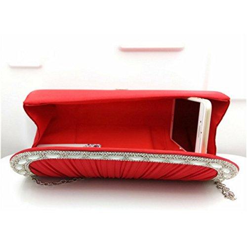 Raso Plissé Frizione Della Busta Borse Delle Donne Con Strass Vintage Borse Red