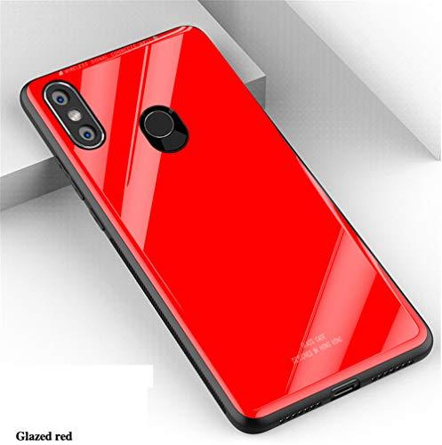 """XunEda Funda Xiaomi Mi MAX 3 6.9"""", 9H Vidrio Templado Respaldo TPU Bumper Non-Slip Cover Case Protectora Brillante Anti-Rasguño Anti-Scratch Case Cover para Xiaomi Mi MAX 3 (Rojo)"""