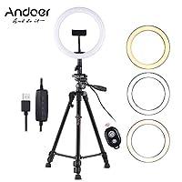 Andoer 10 بوصة LED ضوء حلقة مع حامل ثلاثي القوائم حامل الهاتف الغالق عن بعد 2800K-5700K ضوء عاكس 3 ألوان لإضاءة الفيديو الخاصة بكاميرا بث مباشر