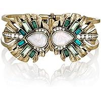 Lares Domi Vintage Gold-tone cristallo Incrusted simulato Smeraldo, opale Elegante Braccialetto Foglia di palma