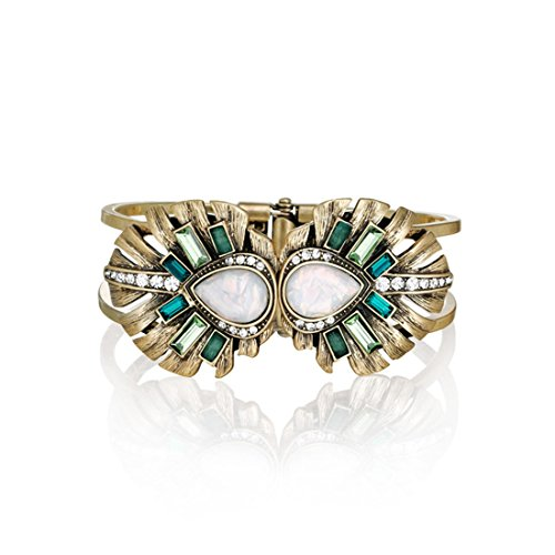 LARESDOMI Vintage Gold-tone Crystal Incrusted Simulated Emerald - Opal Inlay Elegant Palm Leaf Bracelet