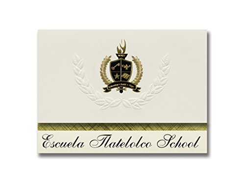 Signature Announcements Escuela Tlatelolco Schule (Denver, CO) Abschlussankündigungen, Präsidential-Stil, Grundpaket mit 25 goldfarbenen und schwarzen metallischen Folienversiegelungen