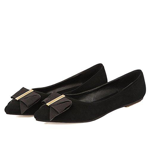 WSS chaussures à talon haut Chaussures gommage basse peu profonds en peau de mouton en cuir pointu Mesdames confort avec plat solide couleur Joker Black