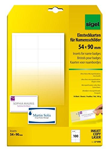 Sigel LP898 PC-Einsteckkarten für Namensschilder weiß, 54x90 mm (A4), 100 Stück