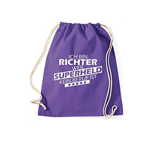 Shirtstown Turnbeutel Ich bin Richter, weil Superheld kein Beruf ist purple