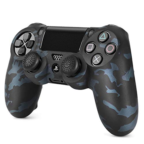 TNP PS4 / Slim / Pro Controller Skin Grip Cover Case Set - Protective Soft Silicone Gel Rubber Shell & Anti-slip Thumb Stick Caps for Sony PlayStation 4 Controller Gaming Gamepad (Camo Black)