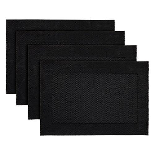 tzset Tischset Platzdeckchen 4 Stück ca. 32 x 47 cm rutschfest und strapazierfähig schwarz (Schwarzes Kunststoff-tischdecke)