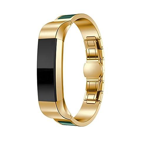 Fitbit Alta Band, 10principales réglable en acier inoxydable Sports Bracelet de montre bracelet, accessoires de remplacement pour Fitbit Alta/HR tracker de fitness M Gold - C
