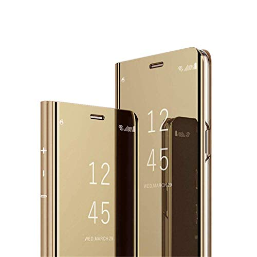 COTDINFOR Huawei Honor 10 Lite Spiegel Ledertasche Handyhülle Cool Männer Mädchen Slim Clear Crystal Spiegel Flip Ständer Etui Hüllen Schutzhüllen für Huawei Honor 10 Lite Mirror PU Gold MX.