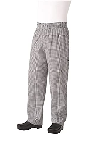 Chef Works NBCP Small Checks Basic Baggy Chef Pants, Black/White, X-Large by Chef Works