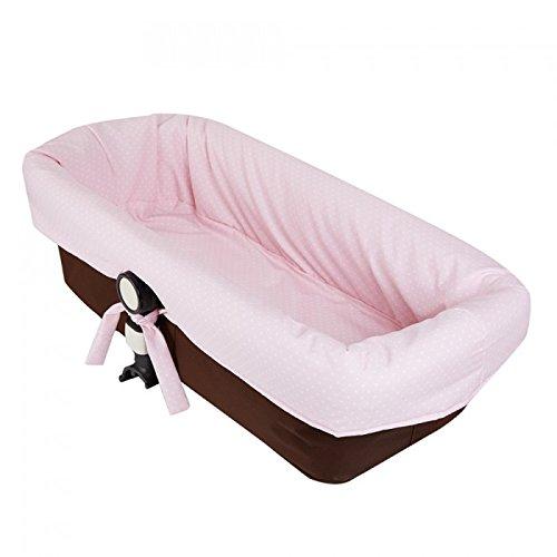 Funda capazo para bugaboo camaleon 2 y 3 en pique rosa con topos blancos