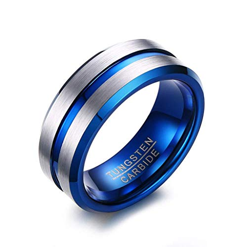 Urne Medaillon,Asche, Herrenschmuck Ring 8mm Wolfram Stahl Gebürstetem Stahl Gold Tcr-046, Blau, 8, Größe: 8, Farbe: Blau Trichter FüLlen-Kit Inklusive (Color : Blue, Size : 9)