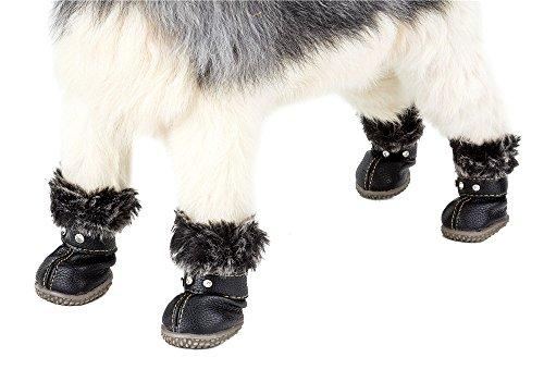SUPEREX 4StkHunde Schneestiefel, Outdoor Plüsch Winter schützender Sport Antirutsch Hündchen Schuhe, Litchi PU Leder mit Kristall Klettband (schwarz, XS)