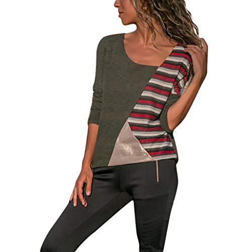EUCoo Donna Cuciture a Colori O Colletto Tee Colore a Contrasto vestibilità Slim Manica Lunga Camicia Tops