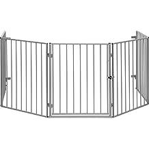 IB-Style Kaminschutzgitter Absperrgitter CATO Schwarz oder Silber Metall - 5 x 60 cm = 3m - mit doppeltem Verschluss