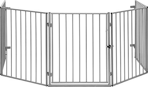 IB-Style - Cancelletto in metallo per fornelli o camini CATO - recinto/barrier / cancello di sicurezza - flessibile protezione in argento