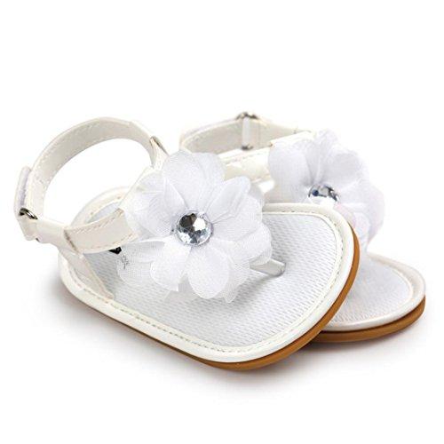 Tefamore Fleur de bébé Sandales de perles Chaussures enfant Princess First Walkers Blanc