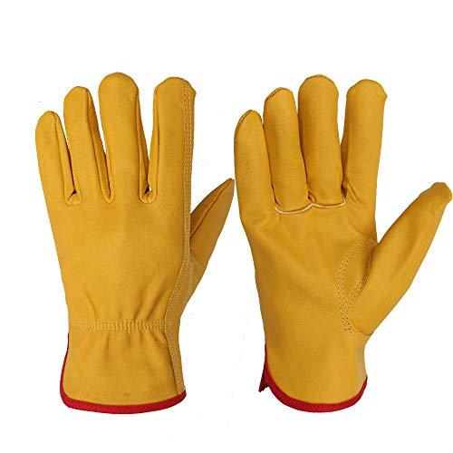 SGEB Guanti da Lavoro per Uomo Protezione di Sicurezza in Pelle Taglio di Sicurezza Guanti da Lavoro per Garage Garage Moto Racing Escursionismo,Yellow,L