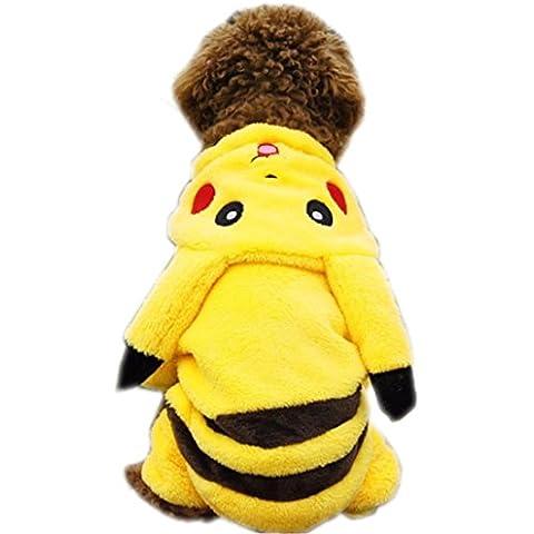 YIZYIF Amarillo Perro Del Animal Doméstico Ropa De Invierno Cálido Pikachu Con Capucha Jersey