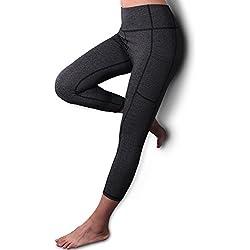 REIDAY Mallas Deportivas de Mujer, Mujer Pantalones elásticos de yoga con bolsillos laterales, 3/4 polainas de yoga Fitness, pantalones deportivos y elásticos polaina, Leggings Mujer (Gris, S)
