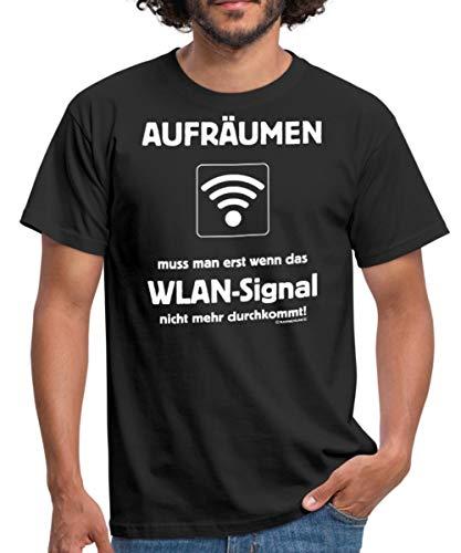 Spreadshirt FD Teenager Aufräumen Muss Man Erst Wenn Das WLAN Signal Nicht Mehr Durchkommt Rahmenlos Geburt Männer T-Shirt, S, Schwarz -