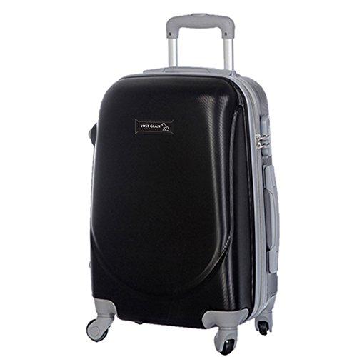 Trolley da cabina marca JUSTGLAM bagaglio a mano cm.50 valigia rigida 4 ruote in abs policarbonato antigraffio e impermeabile compatibile voli lowcost come Easyjet Rayanair/piccola nero