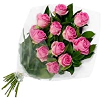 Floral Fantasy Gift of Fresh Flower Bouquet (Bunch Of 10 Pink Roses)