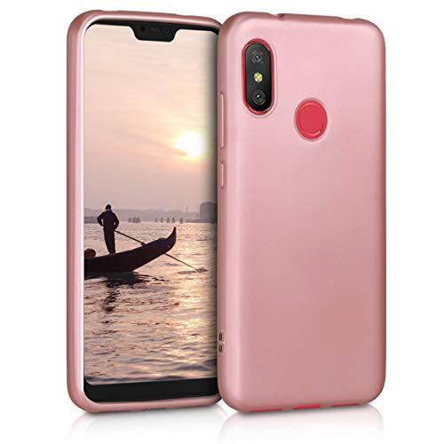 kwmobile Funda para Xiaomi Redmi 6 Pro/Mi A2 Lite - Carcasa para móvil en TPU Silicona - Protector Trasero en Oro Rosa Metalizado