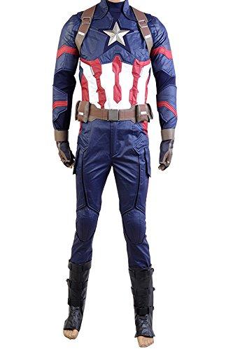 Kostüm America War Captain Civil - Manfu Captain America: Civil War Steve Rogers Uniform Cosplay Kostüm Herren XL