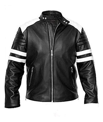 Brad Pitt Kostüm - LFBUK Moto Racer Brad Pitt Herren Jacke aus Schafsleder, weißes Futter Gr. 3XL - Brust - 137 cm, Schwarz
