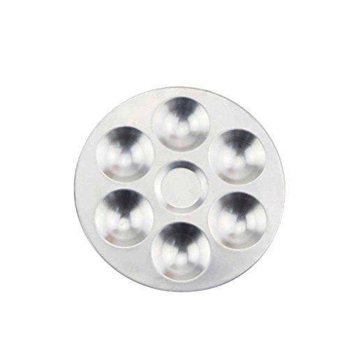 Bomcomi Aquarell-Palette Aluminium Runde Art Farbe Zeichnung Behälter 6 Löcher Öl-Wasser-Farbmalerei Farbmischer