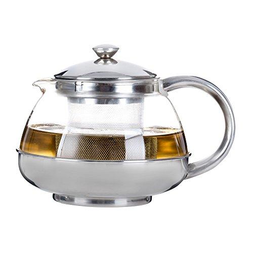 Café Ole Behive ronde en verre Infuseur à thé Pot Théière avec Infuseur et poignée en acier inoxydable, Verre, claire, 1000ml/1L