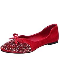 10cc7c0a46cfd1 ZIYOU Mokassins Damen Einzelne Flache Schuhe mit Bling Kristall und Bowknot  Frauen Halbschuhe Weiche…