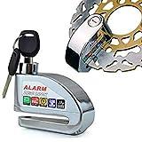 Silver Security Protect Motorbike Motorcycle Anti Thief Electric Bike Scooter Wheel Disc Brake Alarm Lock Zinc Alloy Siren Lock