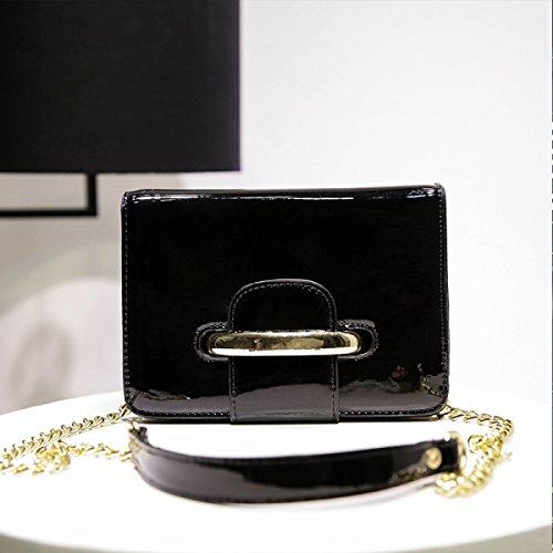 Weibliche Schultertasche Studentenbeutel Einkaufen Trend Lackleder Kette Einkaufen Mode Freizeit Reisen Black
