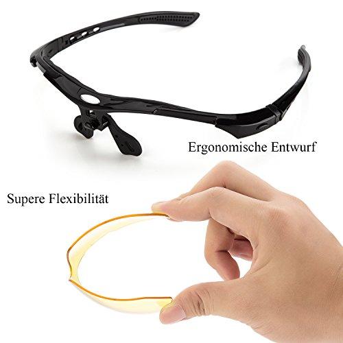 Fahrradbrille,Lypumso Sonnenbrille Polarisiert für Herren und Damen,Radbrille mit 5 Wechselgläsern UV400 Sportbrille für das Fahren Radsports Laufen Skifahren Angeln - 4