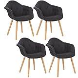 WOLTU BH55sz-4 4 x Esszimmerstühle 4er Set Esszimmerstuhl mit Lehne Design Stuhl Küchenstuhl Leinen Holz Schwarz