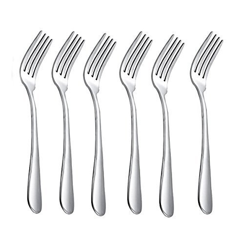HornTide 6-Piece Dinner Forks Set 4 Tines Table Fork Cutlery Flatware Stainless Steel Mirror Polishing 7-Inch 18cm