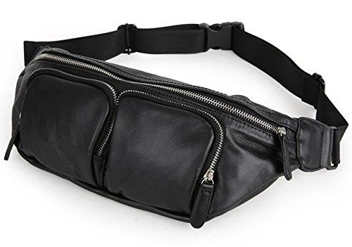 Everdoss da uomo in vera pelle vintage Marsupio da Viaggio petto Crossbody Borsa Zaino Borsa (Flap Satchel Handbag)