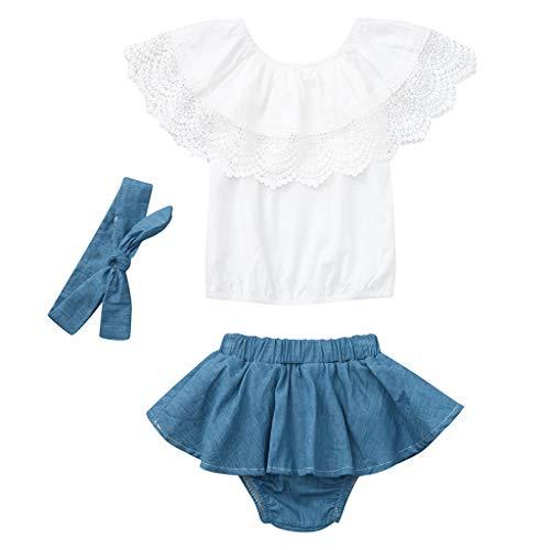 erthome Baby Mädchen Outfit Spitze Rüschen Top + Denim Shorts Kleid + Stirnband Kleidung (12-18 Monate, Blau) (Monate Kleidung Mädchen Größe 18)