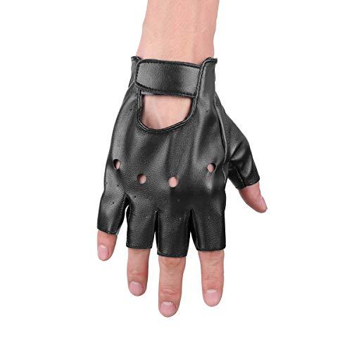 Kostüm Männer Sport - Tiaobug Punk Rock Leder Halbfinger Fahrrad Handschuhe Männer Frauen Gothic Zubehör für Cosplay Halloween Kostüm Sport Nachtclub Schwarz One Size