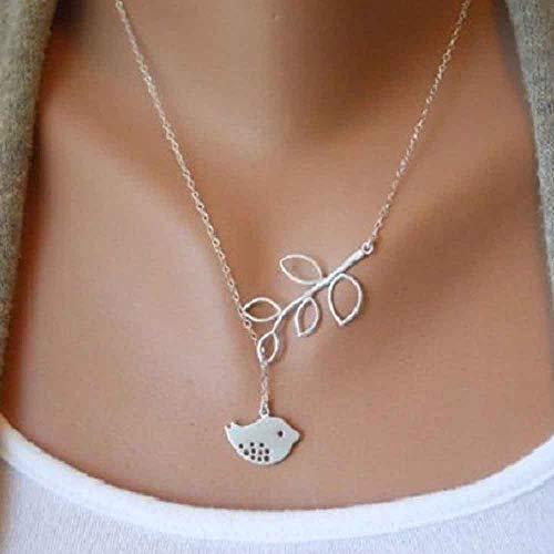 Jovono Fashion Halskette Perlen Blatt und Vogel Anhänger Schmuck Kette für Frauen und Mädchen (Silber)