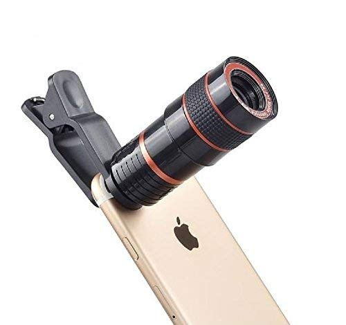 Icable 8X Zoom Mobile Phone Telescope Universal Clip Lens DSLR Like Camera Compatible with All Android, iOS and Windows Devices