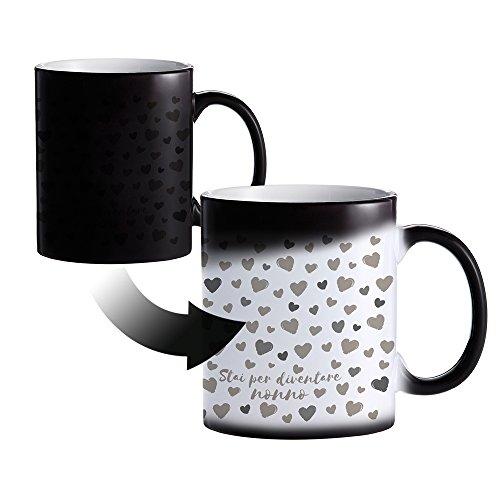 Casa vivente tazza magica in ceramica - stai per diventare nonno - rivestimento termico nero - cambia colore con calore - mug colazione - caffè e tè - regali per futuri nonni - idee festa del papà