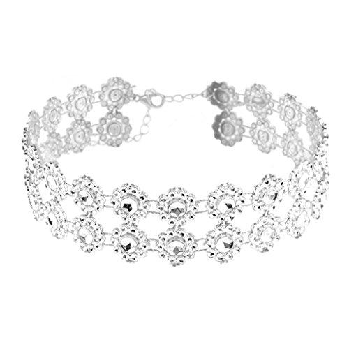Halskette,Binggong Frauen Voller Diamant Kristall Strass Choker Halskette Hochzeit Schmuck Halskette Weibliche Accessoires Elegant Jewellry Geschenke Damen Kette (1X, Silber)