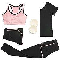 Blancho Bedding Conjunto Deportivo de 4 Piezas para Mujer Conjunto de Entrenamiento Deportivo para Yoga Conjunto de Pantalón Deportivo X