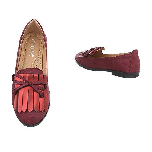 Scarpe da donna Mocassini tacco a blocco Slipper Ital-Design Bourgogne