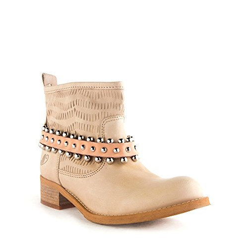 Felmini - Scarpe Donna - Innamorarsi com Cameron 8301 - Stivaletti Cowboy & Biker - Pelle Genuina - Beige - 37 EU Size