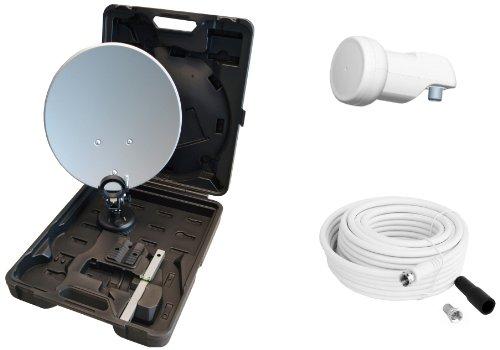 Opticum - Maletín con sistema satélite para camping (antena de 35 cm, LNB simple, soporte, ventosa, 10m cable con conectores F y carcasa impermeable) (importado)