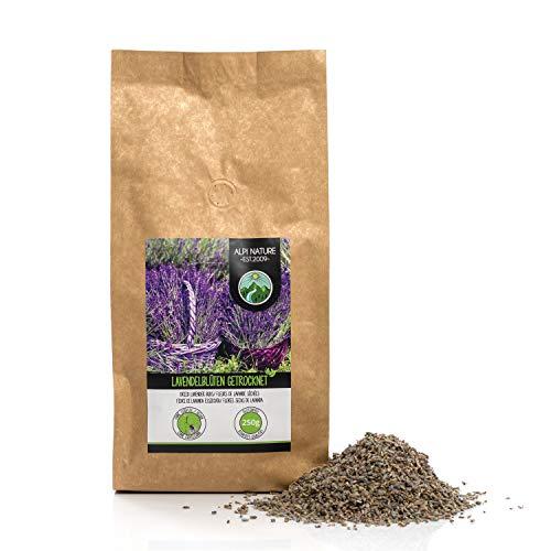 Lavendelblüten getrocknet (250g), Lavendel 100% naturrein, duftintensiv, schonend getrocknet und ohne Zusätze zur Teezubereitung, Duftsäckchen oder Deko -